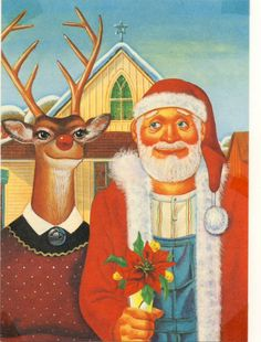 Greetng Cards That Feature A Parody Of Grant Woods American Gothic Painting Farm Couple Father And Daughter In Rural America