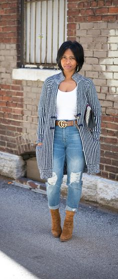 Gap Cardigan, Boyfriend Jeans, H&M, Gucci Belt, Indianapolis Style Blog, Indianapolis Fashion Blog https://bellanblue.com