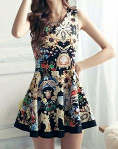 Personality Printed Sleeveless Pleated Dress