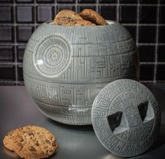 Death Star Cookie Jar - Fully armed and operational;Easily replenishable cookie-based power core;Better than those other two hopeless space-stations;Made from detailed glazed ceramic     link