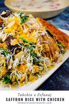 Saffron Rice with Chicken. Saffron rice with chicken yogurt and spinach is a classic fluffy Persian rice referred to as Tahchin e Esfanaj. Healthy and gluten free. Rice Recipes, Indian Food Recipes, Chicken Recipes, Cooking Recipes, Healthy Recipes, Ethnic Recipes, Saffron Recipes, Saffron Rice, Gourmet