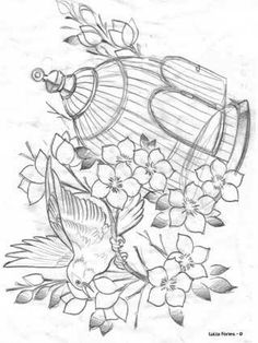 Bird Embroidery, Embroidery Patterns Free, Art Drawings, Pencil Drawings, Art Sketches, Laura Rodrigues, Nursery Patterns, Flash Art, Coloring Book Pages