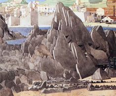 The Rock, by Charles Rennie Mackintosh in Roussillon, France (Pencil and watercolour). Watch the pattern of flat layered slabs of stone. Large Painting, Light Painting, Artist Painting, Art Deco Paintings, Landscape Paintings, House For An Art Lover, Mackintosh Design, Aubrey Beardsley, Charles Rennie Mackintosh