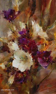 Bouquet in White and Purple by Laura Robb Oil ~ 16 x 10