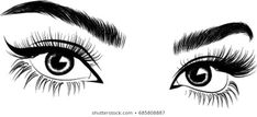 Images, photos et images vectorielles de stock de Hand-drawn woman's sexy makeup look with perfectly perfectly shaped eyebrows and extra full lashes. Idea for business visit card, typography vector.Perfect salon look similaires - 776749792 Perfect Eyebrow Shape, Perfect Eyebrows, Realistic Eye Tattoo, Eyebrows Sketch, Fresh Makeup Look, Perfect Red Lips, Lashes Logo, Sexy Makeup, More Wallpaper