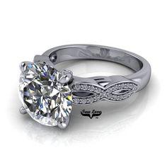 Moissanite Engagement Ring White Gold, Forever One, Wedding Ring, Criss Cross band, Side Moissanites Rose Gold Engagement Ring, Moissanite, Fashion Rings, Wedding Bands, White Gold, Gemstones, Criss Cross, Trek, Clarity