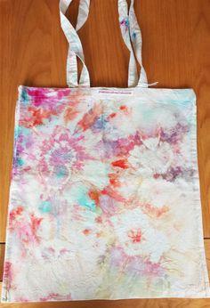 Multi coloured flower burst ice dye tote bag by FrancescaRoseJ on Etsy