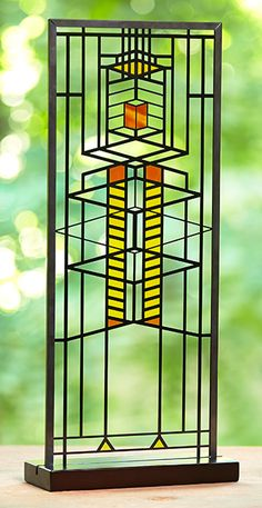 Robie Window Stained Glass; The rich hued glass in the casement windows of Wright's prairie style masterpiece is reproduced to reflect in today's home.