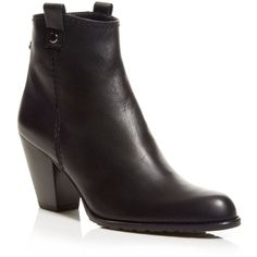 Stuart Weitzman Booties - Hipgal Mid Heel ($368) ❤ liked on Polyvore featuring shoes, boots, ankle booties, black, round toe booties, stacked heel boots, round cap, back zipper boots and high heel ankle booties