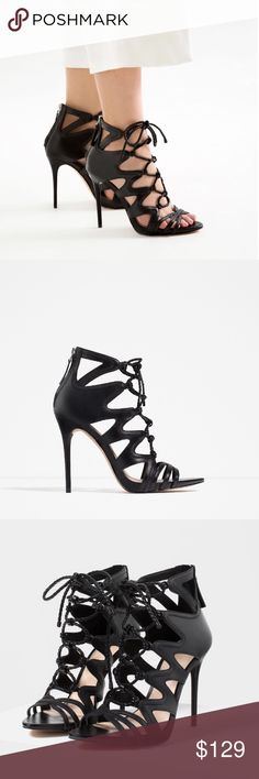 "STUNNING ZARA 100% LEATHER LACE UP HEELS Brand new with tags and box, never worn. UPPER: 70% GOAT LEATHER 30% COW LEATHER. Heel height is 4.2"". Zara Eur 39 / US 8 Zara Shoes Heels"