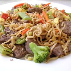 Chinese Fried Noodles   A quick and easy stir-fry using ramen noodles and any of your favorite vegetables and meat, with a little hint of sesame and soy.