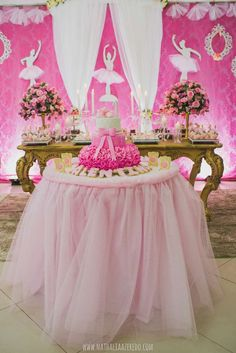 Gorgeous pink and gold ballet dance birthday party! See more party ideas at CatchMyParty.com!