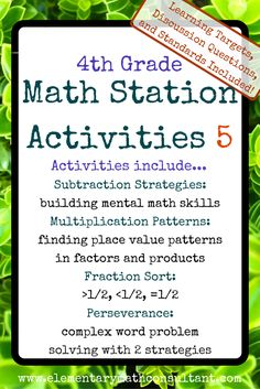 Grade Math Centers/ Math Stations 5 by elementary math consultant Common Core Standards, Math Stations, Math Centers, Math Skills, Math Lessons, Math Games, Math Activities, Math Enrichment, Math Patterns