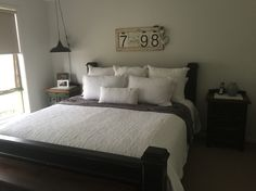 Painted timber king bed
