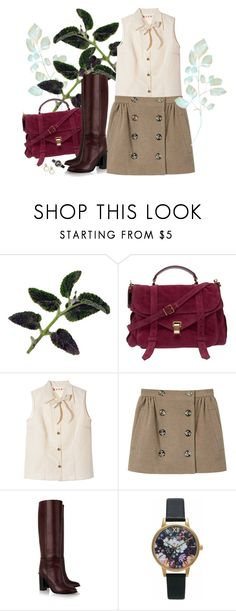 """""""Fall in boots love"""" by gabyidc ❤ liked on Polyvore featuring Proenza Schouler, Marni, Opening Ceremony, Olivia Burton and Disney Couture"""