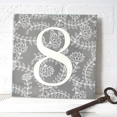 house number ceramic tile linear floral by tilliemint loves   notonthehighstreet.com