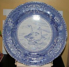 VNG 10¼ Copeland Spode Blue Tower Transferware Bird Plate Wild Geese #10 Perfect