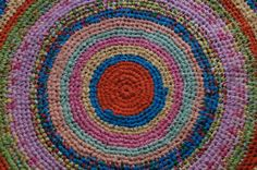 47 large handmade crochet rag rug in pink by ChicCrochetCreations