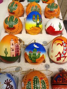 More hand painted ornaments, love the colors, pictures and patterns. Great elements of southwest design. #Cricut