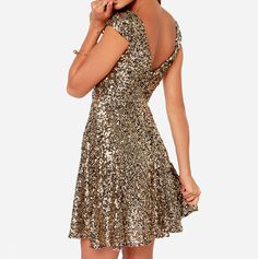 Sexy gold sequined V-neck halter dress FG5617JH