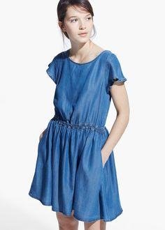 Lyocell-kleid mit rüschen - Damen | MANGO