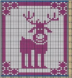 Potholder Reindeer Rudolph pattern by Regina Schoenfeldt - knitting charts Potholder Patterns, Dishcloth Knitting Patterns, Knit Dishcloth, Knitting Charts, Knitting Stitches, Crochet Patterns, Beaded Cross Stitch, Crochet Cross, Crochet Chart