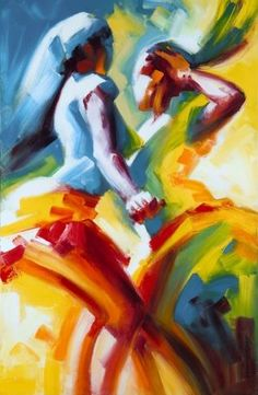 Painting by Cape Verdean artist Miguel Levy Lima - see this painting and dance kizomba in Cape Verdi