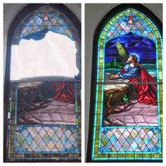 """The two photos above show the before and after of the stained glass window in the First United Methodist Church of Winnie, Texas. We used hurricane resist protective glass comprised of 3/8"""" and 1/4"""" clear tempered glass that was laminated together to create a superior protection against hurricanes to come. Restoration by Artglassbywells.com"""