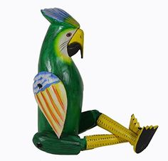 Shelf Sitter GREEN PARROT COCKATOO Statue Hand Painted Carved Wood Meditating Yoga