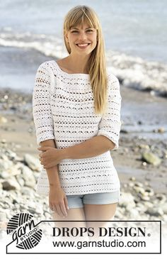 "Crochet DROPS jumper with lace pattern and round yoke in ""Muskat"". The piece is…"