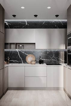 38 Modern Minimalist Kitchen Design with Granite Decoration - Design Ort Modern Kitchen Cabinets, Kitchen Cabinet Design, Modern Kitchen Design, Interior Design Kitchen, Diy Interior, Modern Kitchens, Small Kitchens, Kitchen Counters, Dream Kitchens