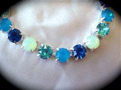 Blue Green Bridesmaid Bracelet -Swarovski Crystal Bracelet - The Crystal Rose