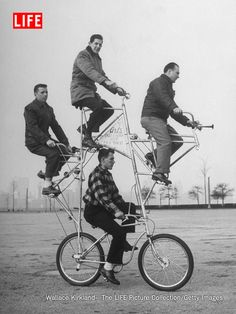 This four-man bicycle has brakes on both its wheels.