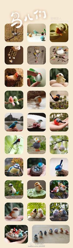 Many bird charms and figures from different media.
