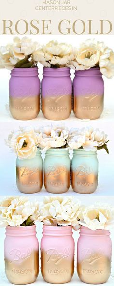 So in love with these handpainted mason jars! They add the perfect touch to any room whether it's for a wedding, baby shower, party, or just for home decor. Perfect decor for spring too! #ad #masonjardecor #springdecor #centerpiece #weddingdecor #rosegold #vase