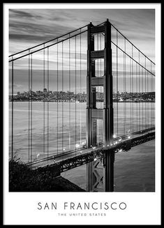 Golden Gate Bridge Poster : San Francisco Poster in the group Posters & Prints at Desenio AB New York Poster, City Poster, Chicago Poster, Mode Poster, Black And White Picture Wall, Black And White Posters, Black And White Pictures, Desenio Posters, Groups Poster