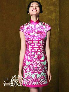 Fashion personality vintage/paper cutting chinese short qipao-inCheongsams