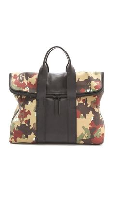 3.1 Phillip Lim Canvas 31 Hour Bag ~ ok I've been LUSTING after this bag for some time and when I happened upon this bag in the green cheetah camo... SAY WHAT?!?! I KNEW I had to have it....