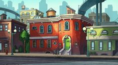 """Nickelodeon - Background Painter I had the pleasure of working on Nickelodeons """"reboot"""" of Hey Arnold! I was responsible for painting large color keys as well as individual backgrounds. Hey Arnold, Arnold Wallpaper, Arnold House, Boarding House, Rose City, Nickelodeon, 90s Cartoons, Gaming Wallpapers, Animation Background"""