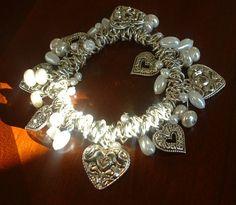 Retro Vintage Hearts Charm Bracelet Faux Pearl Stretch by tea500