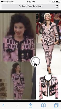 Lettering in fashion - The Nanny Fran Drescher wearing a Moschino ensemble Quirky Fashion, Fashion Tv, Colorful Fashion, Vintage Fashion, Womens Fashion, Gianni Versace, Lit Outfits, Cool Outfits, Nana Fine