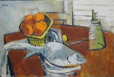 """Still Life with Fish by Charles Alston, oil on board, 20"""" X 30"""" inches, circa 1945"""