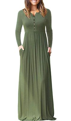 bfc9ba83788d Dearlovers Womens Solid Color Button Down Casual Long Sleeve Maxi Dress  Army Green L Formal Dresses