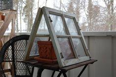 Drivhus av gamle vinduer. Sandbox, Gardening, Garten, Lawn And Garden, Horticulture, Sand Play, Litter Box