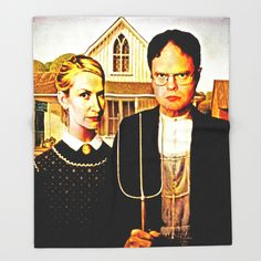 Buy Dwight Schrute & Angela Martin (The Office: American Gothic) Throw Blanket by silvioledbetter. Worldwide shipping available at Society6.com. Just one of millions of high quality products available.