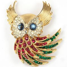 Trifari 'Alfred Philippe' Invisibly Set Ruby and Emerald 'Firebirds' Owl Pin