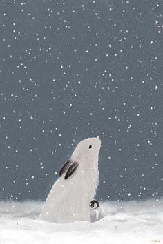 Rabbit Illustration, Winter Illustration, Illustration Art, Winter Painting, Winter Art, Deco Nature, Corel Painter, Winter Wallpaper, Bunny Art