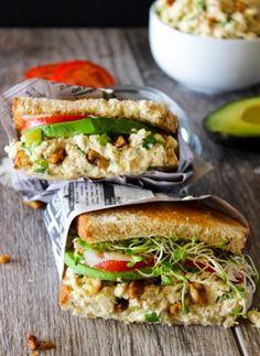 Tuna salad sandwich with avocado.