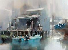 Hudozhnik-Liu-Yi.-Akvarel     Легкие и воздушные акварели китайского художника-акварелиста Liu Yi.  городской пейзаж