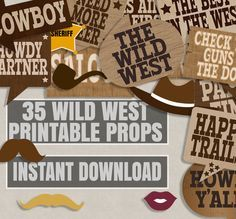 35 Cowboy party printables photo booth props, wild west theme party, photobooth props for cowboy party, old west theme, cowboy prop booth by YouGrewPrintables on Etsy